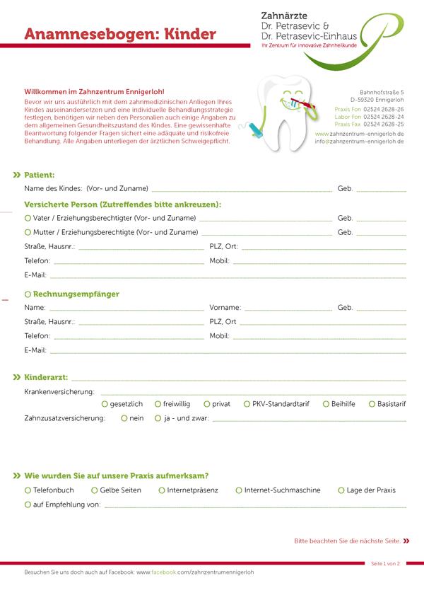 Kinder-Anamnesebogen > Download
